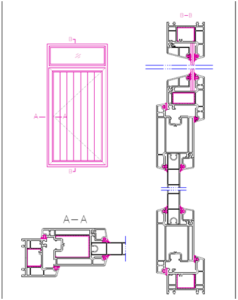 assemble drawing for PVC window profiles