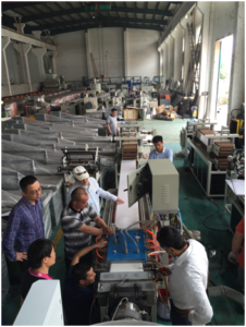 test PVC ceiling panel line in our factory