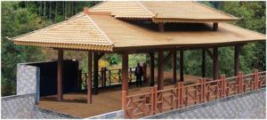 PE-wood profiles for pavilion