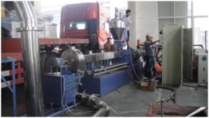 PE-wood pelletizing line
