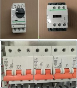LS air switch, Schneider contactor and overload protector