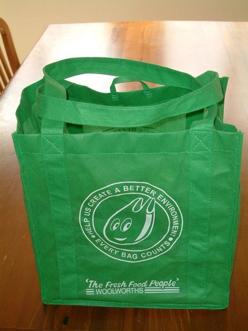Green bag made from PP