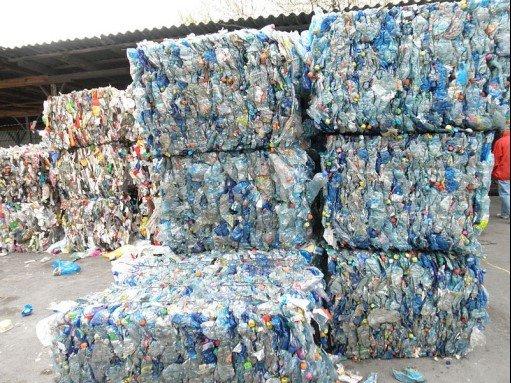 Plastic waste in bales